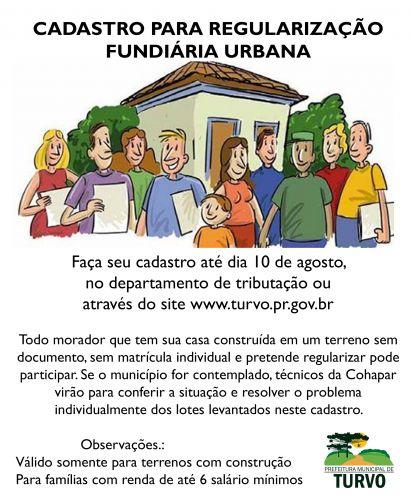 Cadastro para regularização fundiária urbana adiado ate dia 10