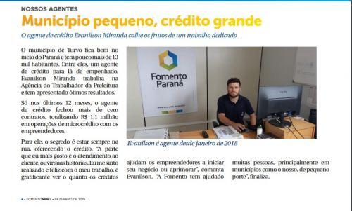 Turvo é destaque no Informativo de Dezembro de 2019 da Fomento Paraná