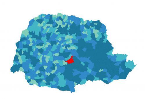 Localização de Turvo no Estado do Paraná