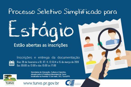 Prefeitura Municipal abre inscrições PSS para seleção de Estagiários