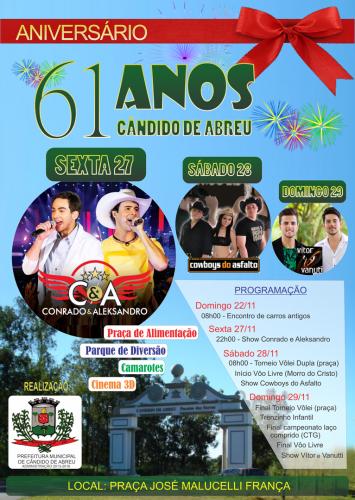ANIVERSÁRIO DE 61 ANOS DE CÂNDIDO DE ABREU