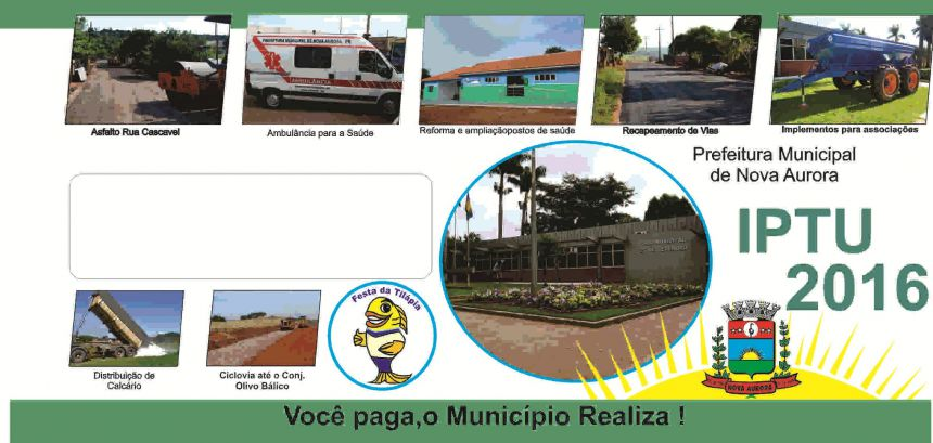 Prefeitura de Nova Aurora distribui carnês IPTU 2016