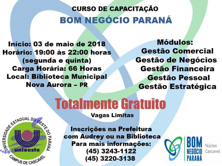 Estão abertas as inscrições para a Programa Bom Negócio Paraná