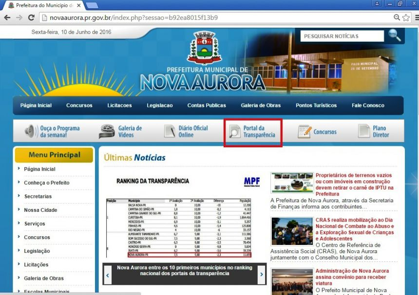 Nova Aurora entre os 10 primeiros municípios no ranking nacional dos portais da transparência