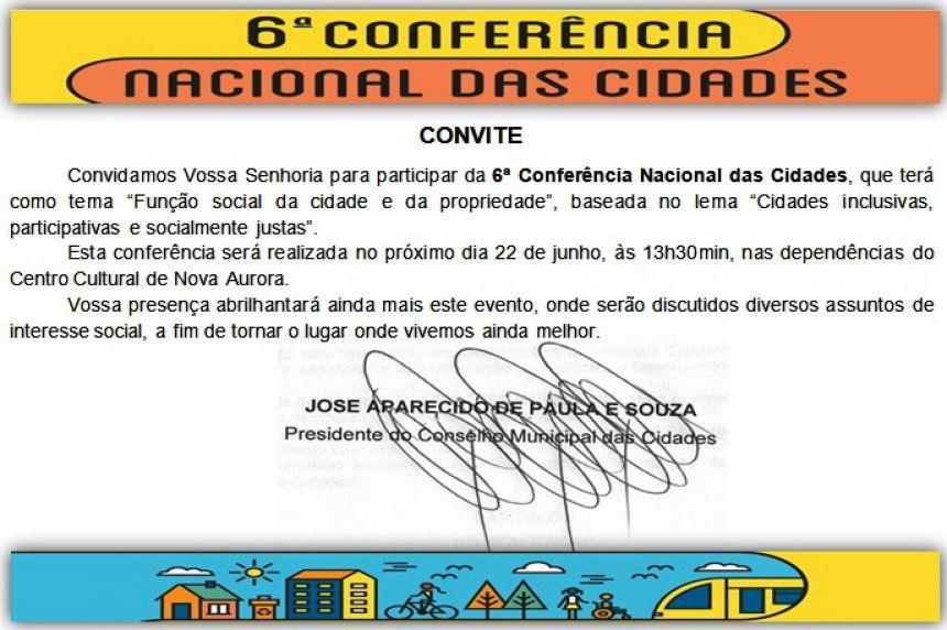 Convite Conferência Nacional das Cidades