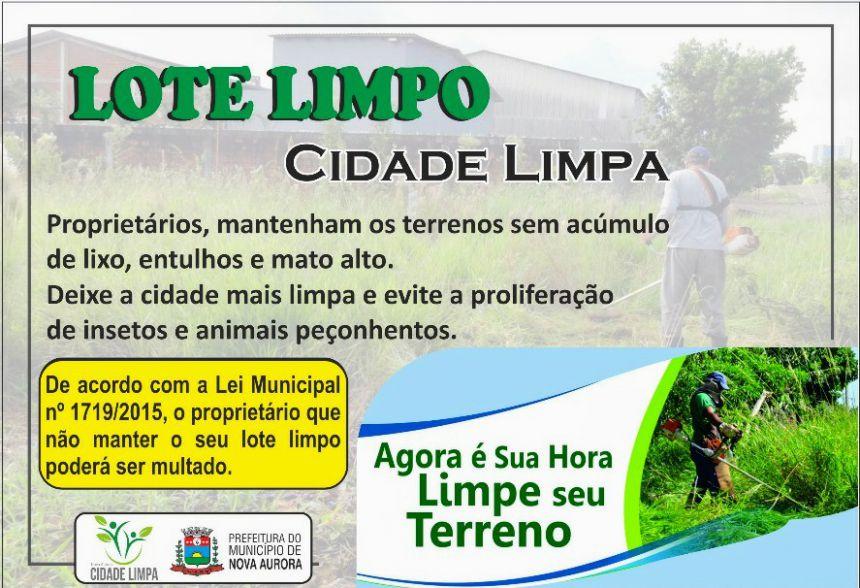"""Nova Aurora lança campanha """"Lote Limpo"""""""