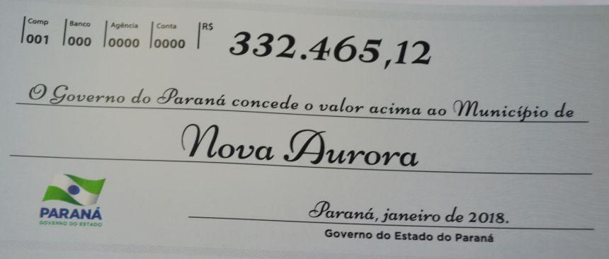 Nova Aurora recebe cota extra de ICMS no valor de R$ 332 mil do Governo do Estado