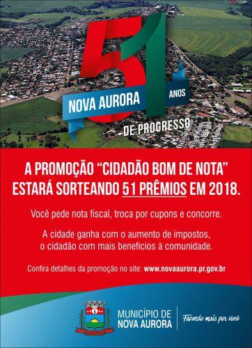"""Nova Aurora realiza 2º sorteio do """"Cidadão Bom de Nota"""" durante festa do padroeiro São Roque"""