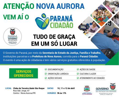 Nova Aurora recebe Paraná Cidadão nesta quarta-feira