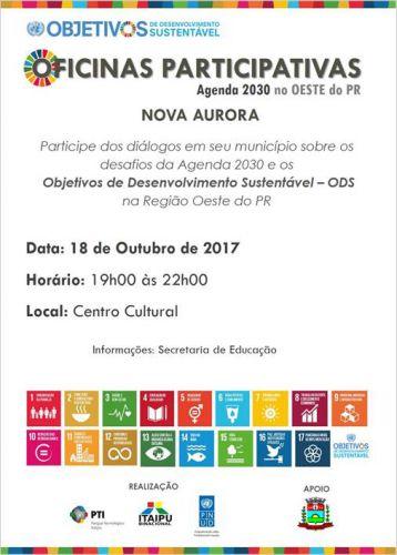 Nova Aurora realiza ′Oficinas Participativas sobre a Agenda 2030′ na próxima semana