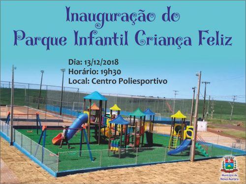 Parque Infantil Criança Feliz será entregue à comunidade nessa quinta-feira (13)