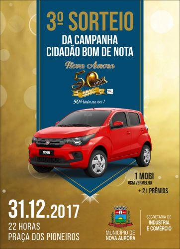 """Município realiza 3º sorteio do """"Cidadão Bom de Nota"""" durante Virada do Ano"""