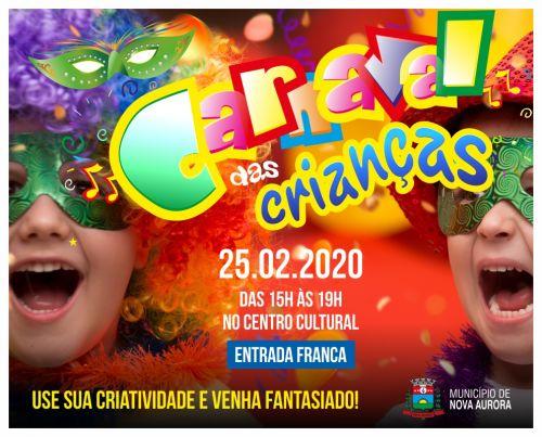 Departamento de Cultura realiza carnaval das crianças na terça-feira (25) feriado