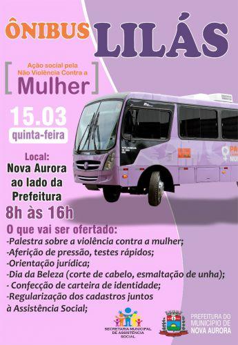"Nova Aurora recebe ""Ônibus Lilás"" em março"
