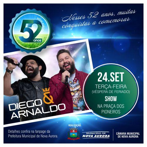 Diego e Arnaldo é atração amanhã dos 52 anos de Nova Aurora