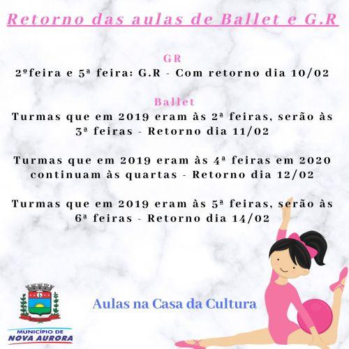 Ginástica Rítmica e Ballet municipal retornam a partir do dia 10 de fevereiro