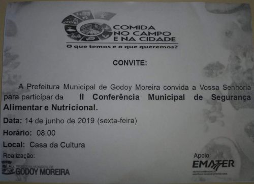 II CONFERÊNCIA MUN. DE SEGURANÇA ALIMENTAR E NUTRICIONAL