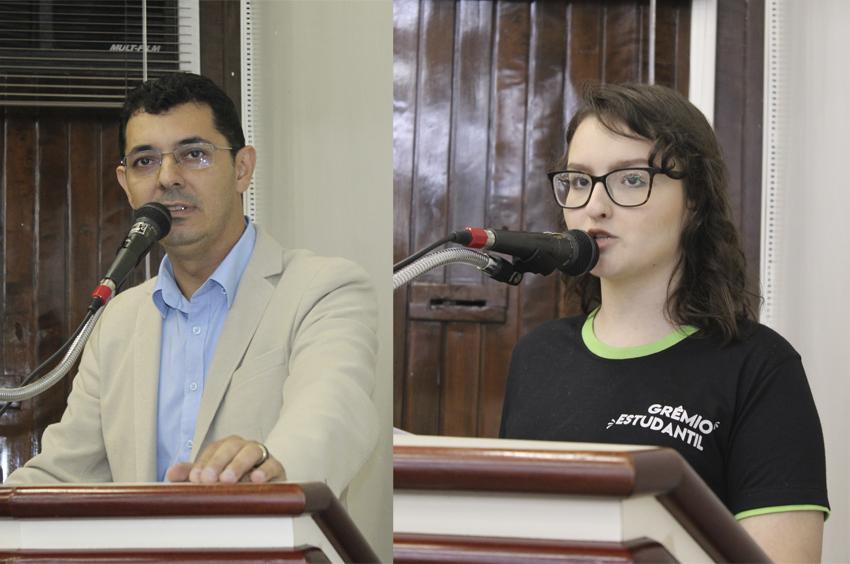 Professor Carlos e Giovanna se manifestaram contra o corte de recursos ao IFPR