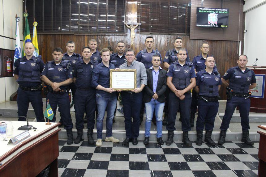 Guarda Municipal recebe moção do Legislativo Paranavaiense