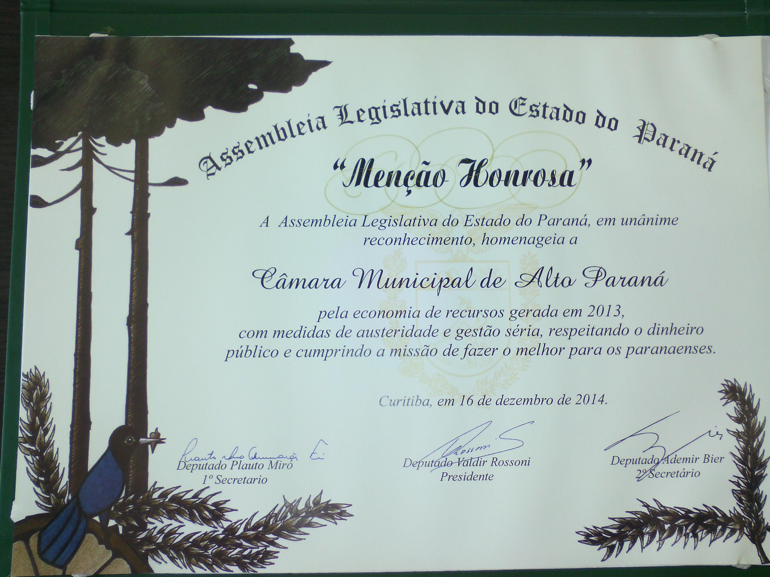 Menção Honrosa - Concedida pela Assembleia Legislativa do Paraná