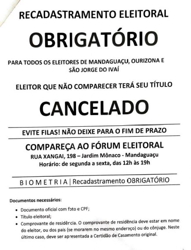 RECADASTRAMENTO TÍTULO ELEITORAL - BIOMETRIA