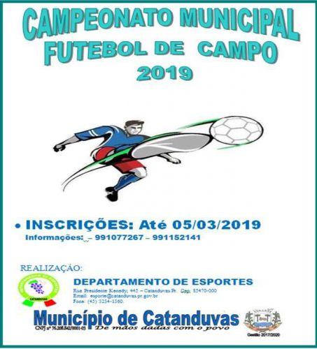 Abertas inscrições para o Campeonato Municipal de Futebol de Campo 2019.