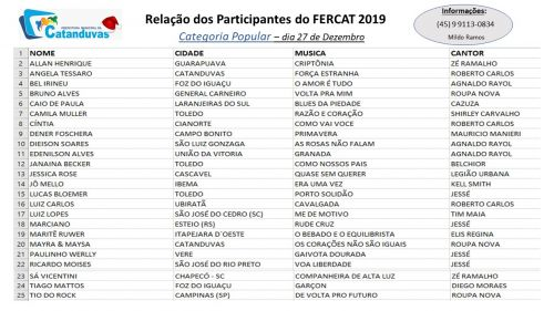 Confira a relação dos participantes  do Fercat 2019