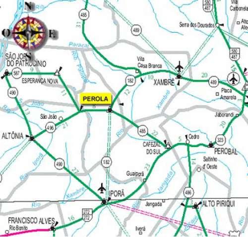 Mapa retratando os limites do município, principais rodovias e vias de acesso.