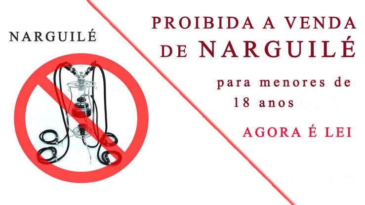 Fica proibido o uso de Narguilé em locais que especifica, bem como a venda de cachimbo conhecido como Narguilé e insumos aos menores de 18 anos.