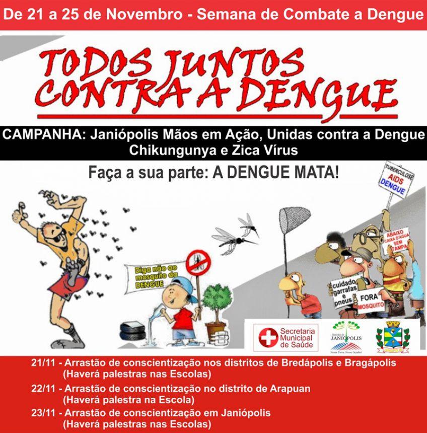 Secretaria de Saúde irá realizar semana de combate à Dengue