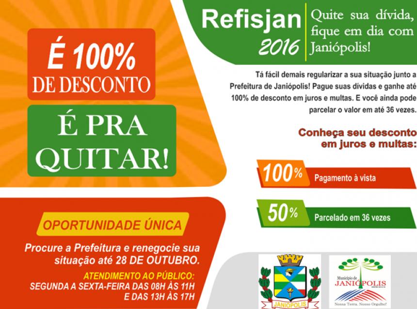Prefeitura de Janiópolis lança REFISJAN 2016