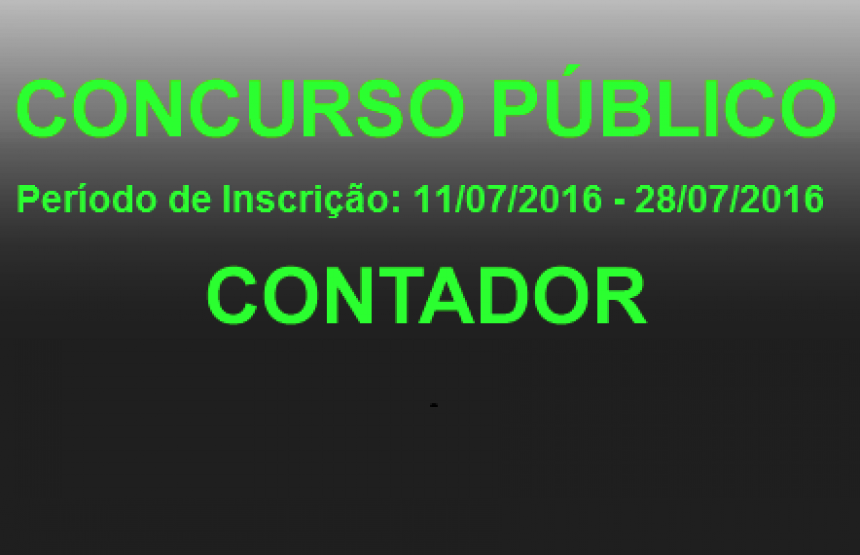Edital de Concurso Público Nº 01/2016 - CARGOS DE NÍVEL SUPERIOR - CONTADOR