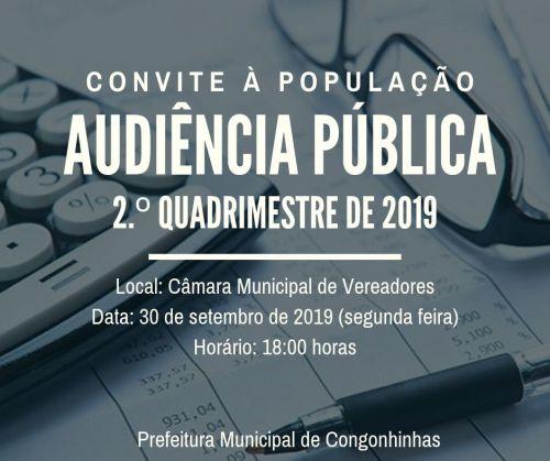 AUDIÊNCIA PÚBLICA 2.º QUADRIMESTRE DE 2019.