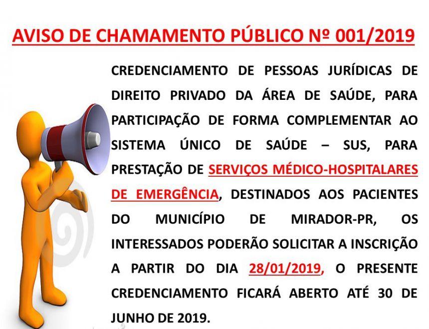 CHAMAMENTO PÚBLICO NºÂ001/2019