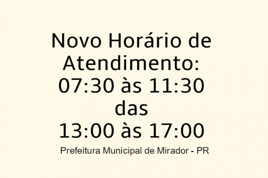 AVISO NOVO HORARIO DE FUNCIONAMENTO