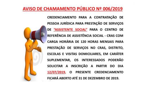 CHAMAMENTO PÚBLICO Nº006/2019