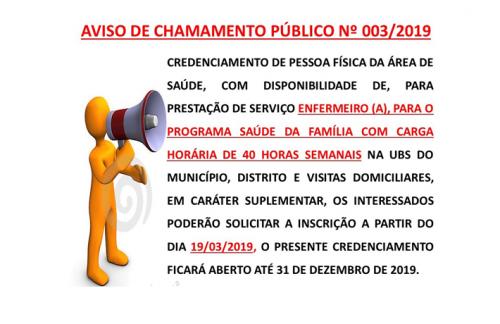 CHAMAMENTO PÚBLICO Nº003/2019