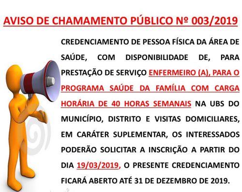 CHAMAMENTO PÚBLICO Nº 003/2019