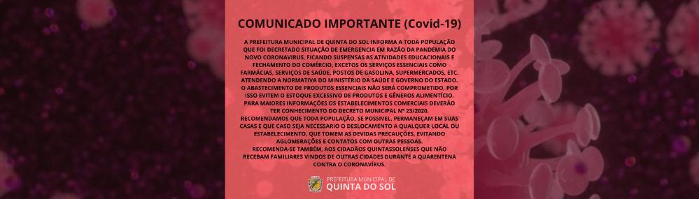 COMUNICADO IMPORTANTE COVID - 19