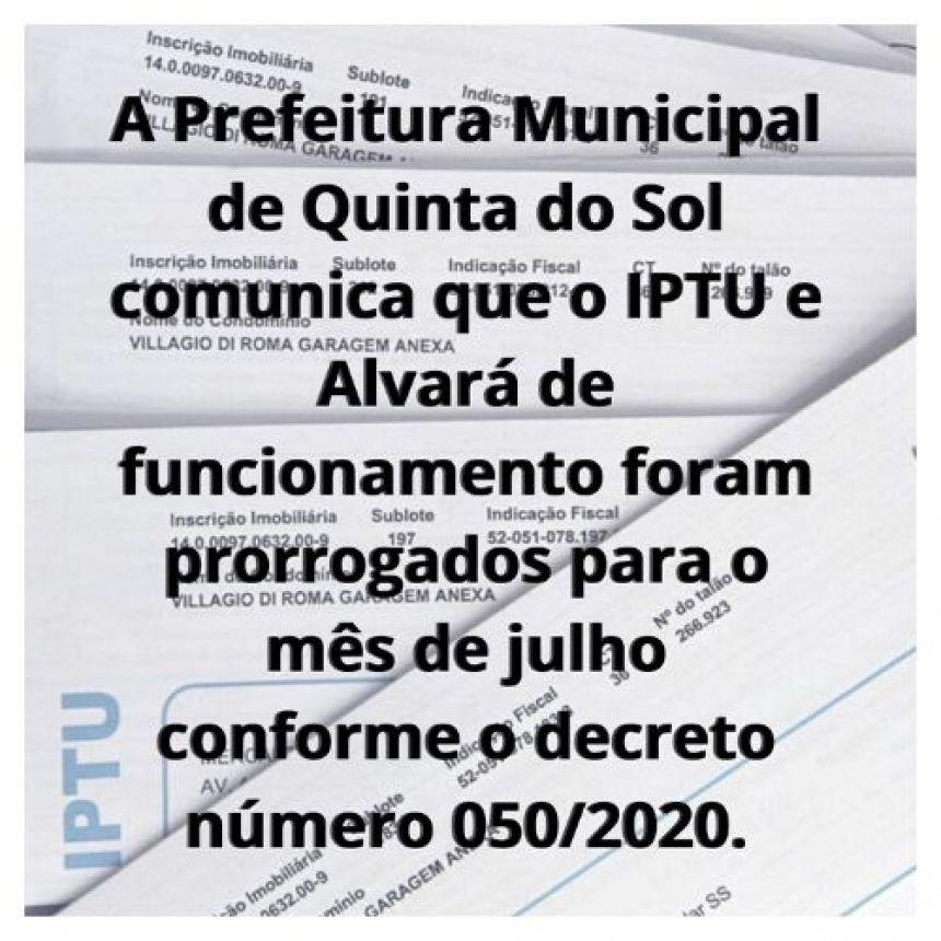 COMUNICADO DE PRORROGAÇÃO IPTU