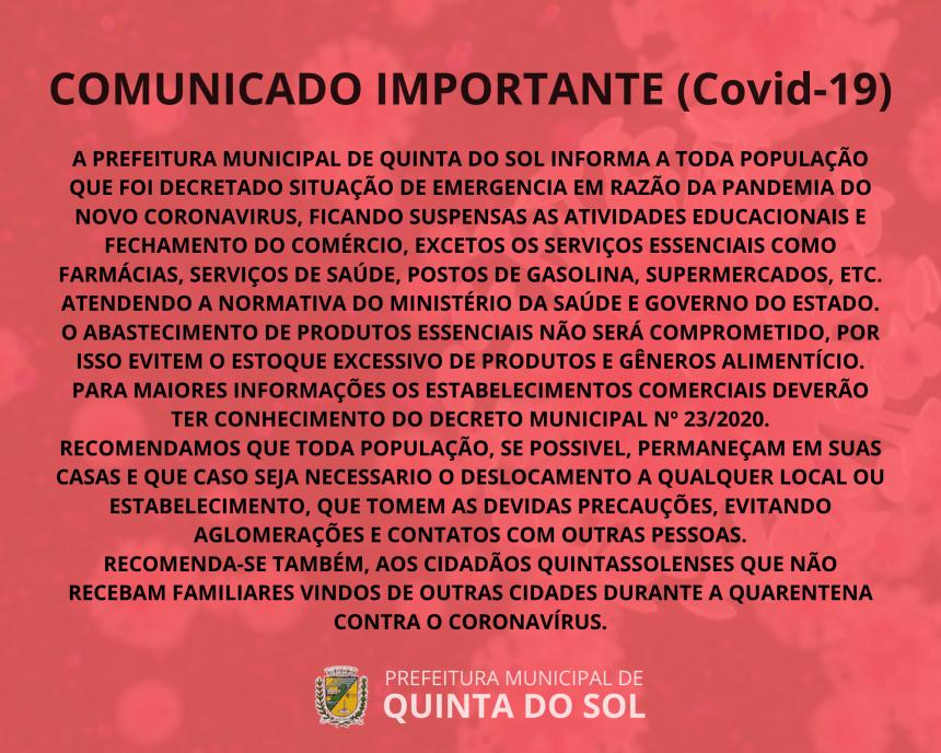 COMUNICADO IMPORTANTE (COVID-19)