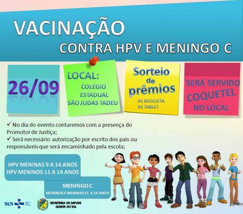 """Quinta do Sol realiza Dia """"D"""" de vacinação contra HPV e Meningo C"""