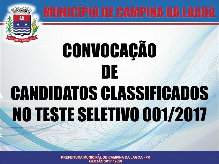 CONVOCAÇÃO DE CANDIDATOS CLASSIFICADOS NO TESTE SELETIVO 001/2017
