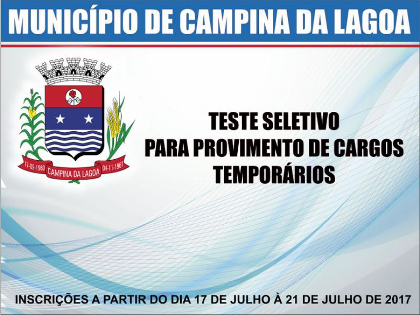Publicado Edital do Teste Seletivo para Campina da Lagoa
