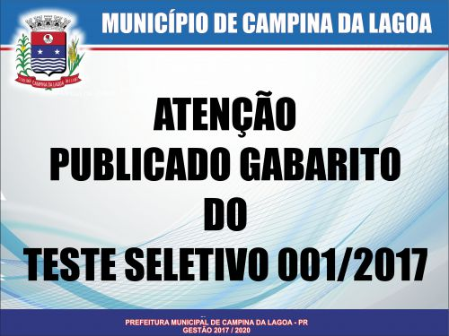 Publicado Gabarito do Teste Seletivo 001/2017