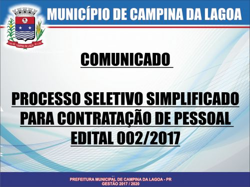 PROCESSO SELETIVO SIMPLIFICADO PARA CONTRATAÇÃO DE PESSOAL EDITAL Nº 002/2017