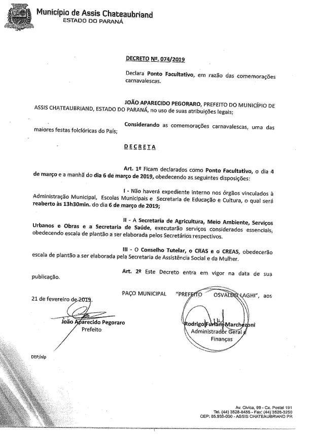 DECRETO  N.º 074/2019 -PONTO- FACULTATIVO