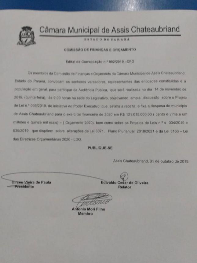 CÂMARA  COMUNICA  AUDIÊNCIA PÚBLICA PARA DISCUTIR  ORÇAMENTO.