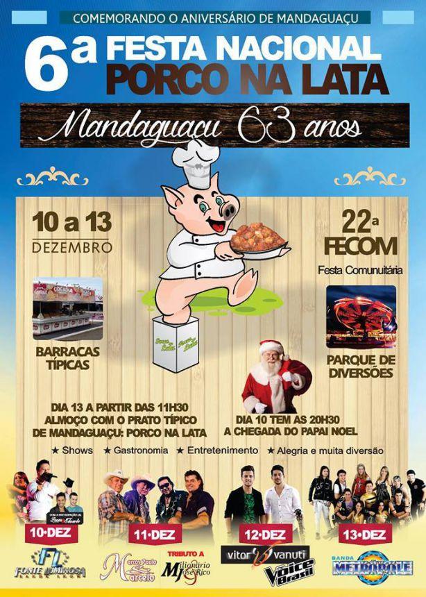 6ª Festa Nacional do Porco na Lata começa hoje em Mandaguaçu
