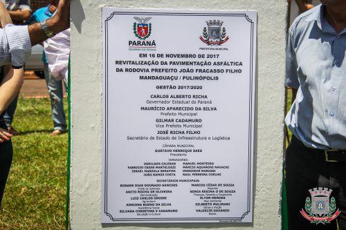 Mandaguaçu reinaugura pavimentação asfáltica da Estrada do Pulinópolis